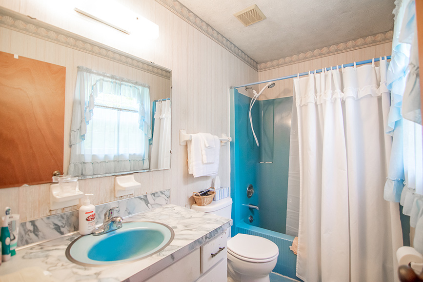 John Bunn realty Ellerslie GA blue bathroom realtor